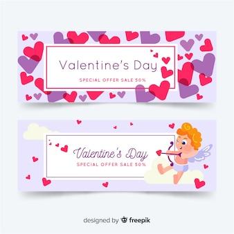 Bannière de vente coeurs et cupidon valentine
