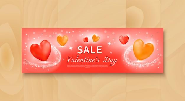 Bannière de vente avec des coeurs réalistes rouges et jaunes