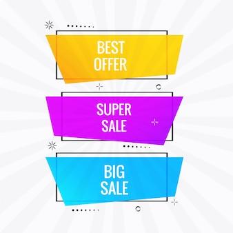 Bannière de vente coloré scénographie vectoriel