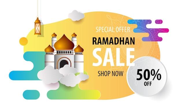 Bannière de vente colorée ramadan kareem avec lanternes