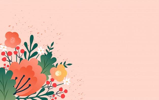 Bannière de vente de conception avec des fleurs de printemps.