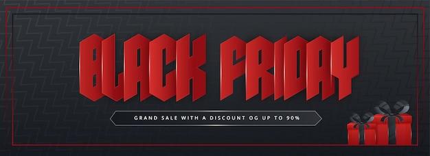 Bannière de vente ou conception d'en-tête avec du papier rouge coupé le texte du vendredi noir et des boîtes-cadeaux sur fond gris foncé à rayures en zigzag.