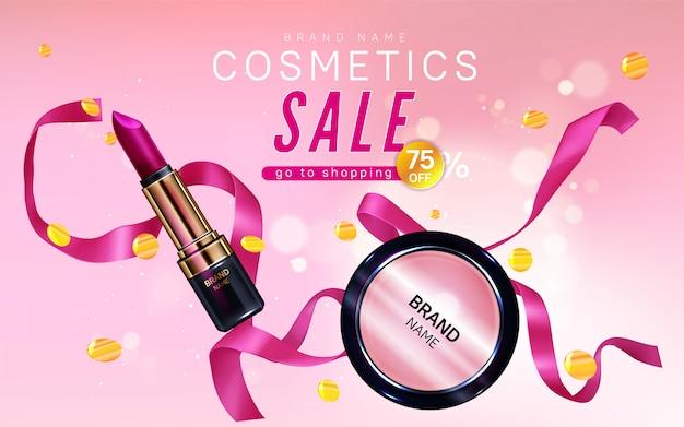 Bannière de vente de cosmétiques avec rouge à lèvres, maquillage fard à joues