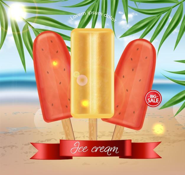 Bannière de vente de crème glacée à la pastèque