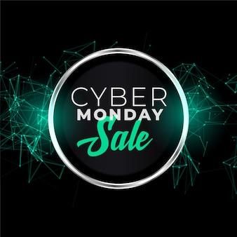 Bannière de vente cyber lundi dans un style futuriste