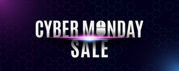 Bannière de vente cyber lundi. fond de haute technologie à partir d'un motif en nid d'abeille. offre spéciale de magasin. souris d'ordinateur et texte. lumières violettes et bleues.