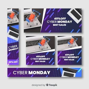 Bannière de vente cyber lundi avec ordinateur et panier