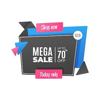 Bannière de vente dans un style origami