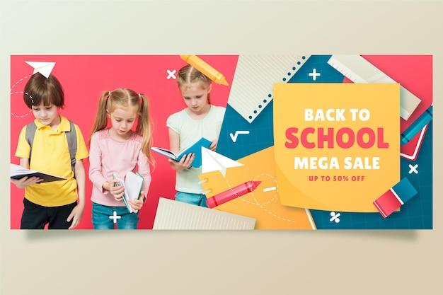Bannière de vente de dégradé de retour à l'école avec photo
