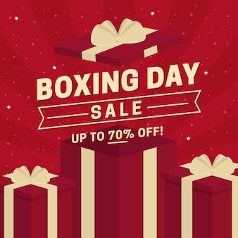 Bannière de vente design plat boxing day