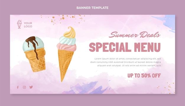 Bannière de vente de desserts aquarelle