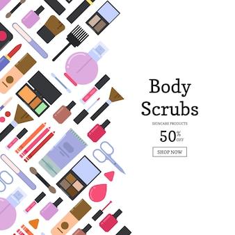 Bannière de vente différents style maquillage et soins de la peau