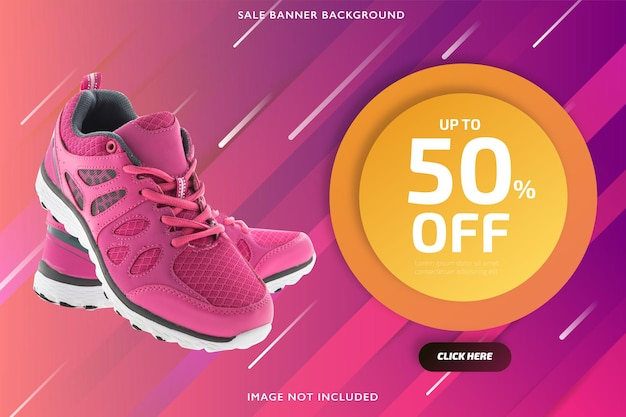 Bannière de vente discount rose