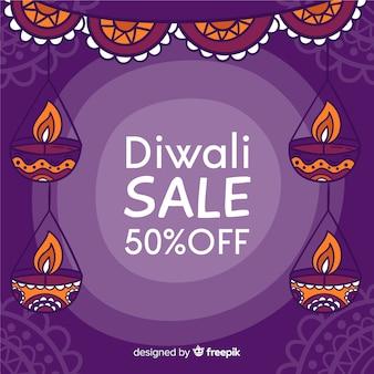 Bannière de vente diwali dessiné à la main