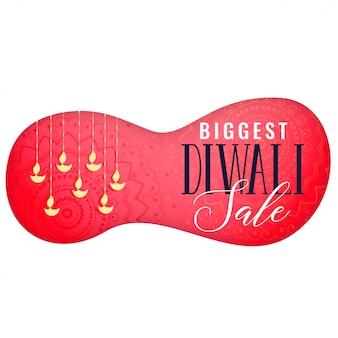 Bannière de vente diwali avec pendaison de diya