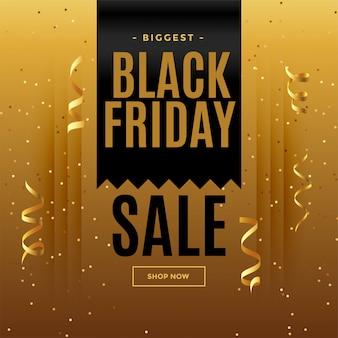 Bannière de vente doré noir vendredi style célébration