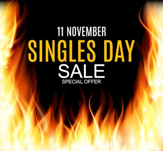 Bannière de vente du 11 novembre pour célibataires.