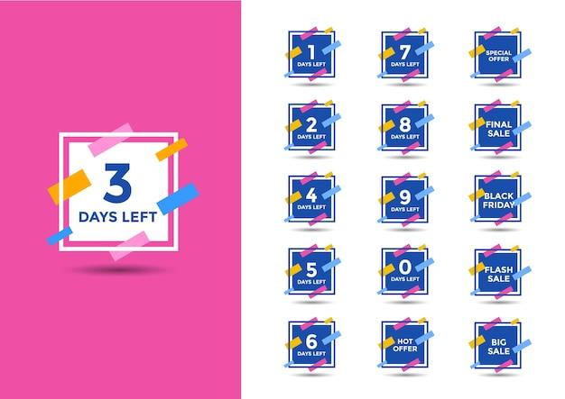 Bannière de vente du compte à rebours du nombre de jours restants