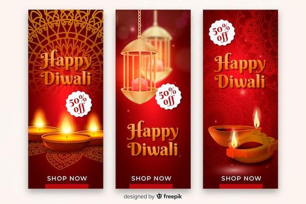 Bannière de vente du festival de diwali réaliste