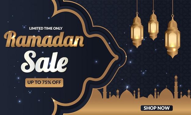Bannière de vente du ramadan pour publication sur les réseaux sociaux