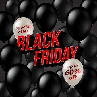 Bannière de vente du vendredi noir avec des ballons et un titre rouge.