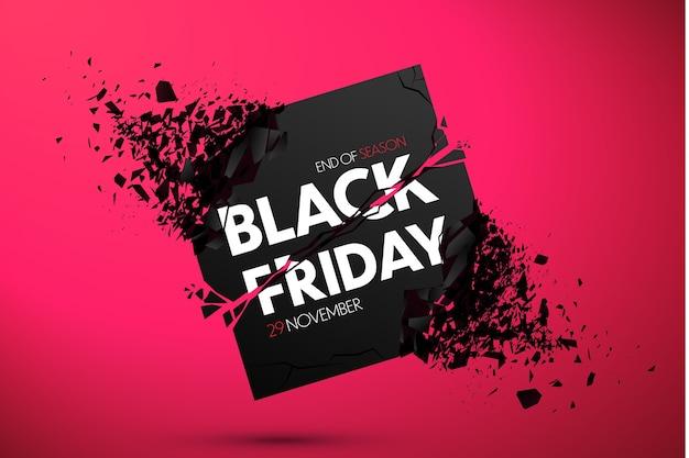 Bannière de vente du vendredi noir avec effet explosif