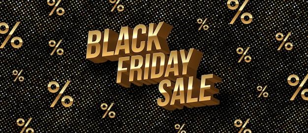 Bannière de vente du vendredi noir avec des lettres 3d métalliques dorées.