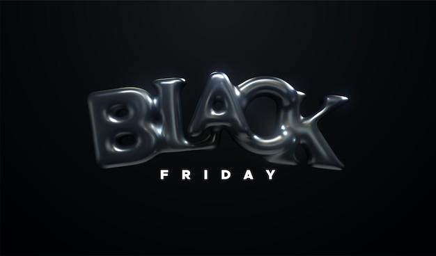 Bannière de vente du vendredi noir avec signe de lettres de ballon en caoutchouc noir