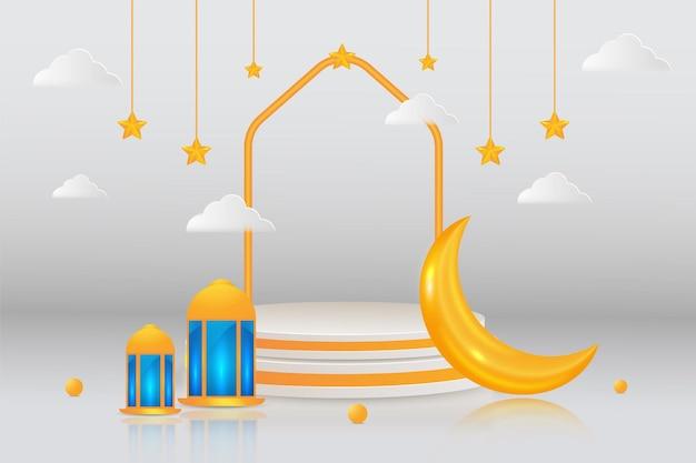 Bannière de vente eid islamique avec podium 3d