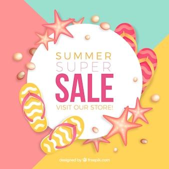 Bannière de vente avec des éléments d'été
