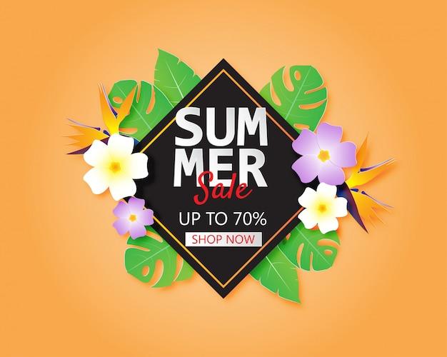 Bannière de vente d'été ou une affiche avec des fleurs et des feuilles dans un style de papier découpé. publicité de promotion des achats.