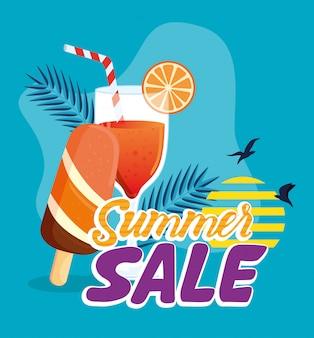 Bannière de vente d'été, affiche de réduction de saison avec cocktail et crème glacée, invitation pour faire du shopping avec étiquette de vente d'été, carte d'offre spéciale