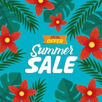 Bannière de vente d'été, affiche de réduction de saison avec fleurs et feuilles tropicales, invitation pour faire du shopping avec étiquette offre spéciale de vente d'été