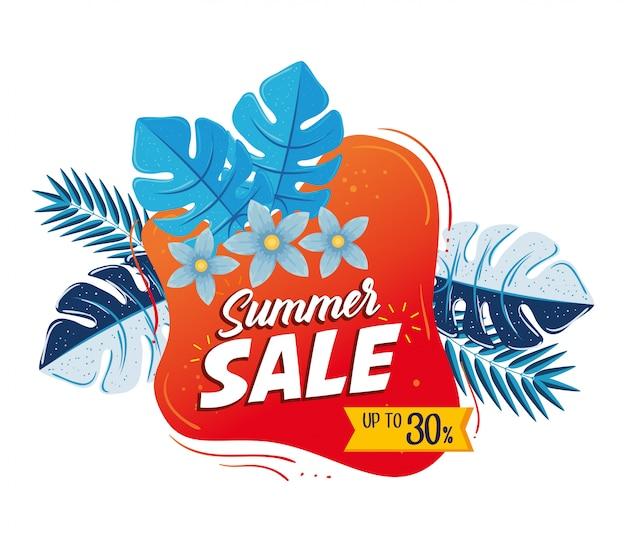 Bannière de vente d'été, affiche de réduction de saison avec fleurs et feuilles tropicales, invitation pour faire du shopping avec jusqu'à trente pour cent