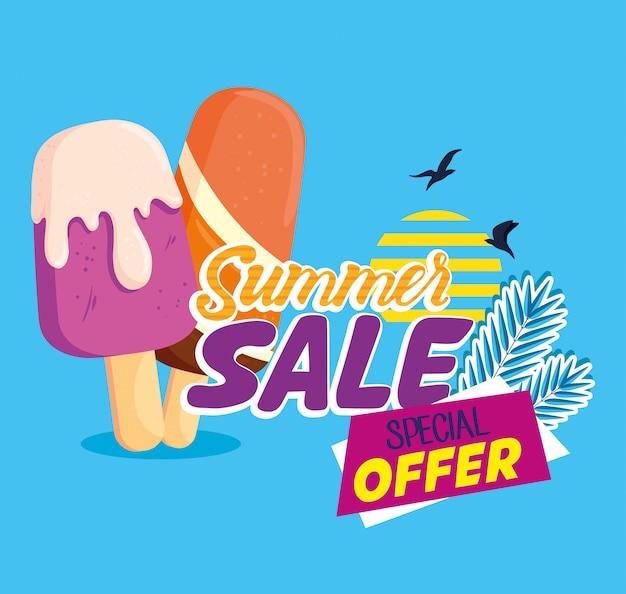 Bannière de vente d'été, affiche de réduction de saison avec des glaces, invitation pour faire du shopping avec étiquette offre spéciale