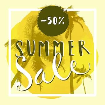 Bannière de vente d'été. annonce en lettres à la main avec des palmiers, cadre carré et cercle aquarelle