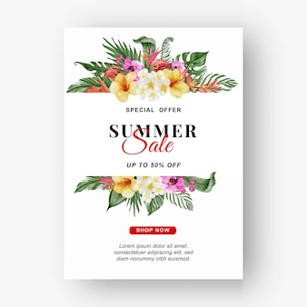 Bannière de vente d'été avec aquarelle de feuilles et de fleurs tropicales de verdure