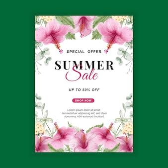 Bannière de vente d'été avec aquarelle fleur d'hibiscus
