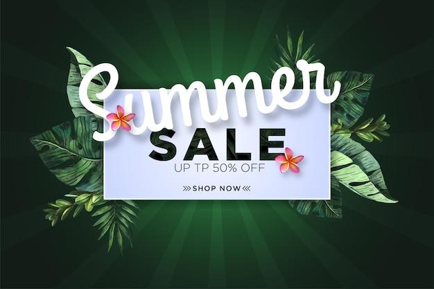 Bannière de vente d'été avec aquarelle tropicale