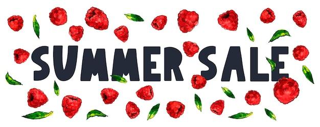 Bannière de vente d'été aux framboises