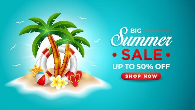 Bannière de vente d'été avec ballon de plage bouée palmier