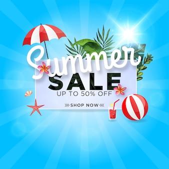 Bannière de vente d'été avec une belle feuille tropicale
