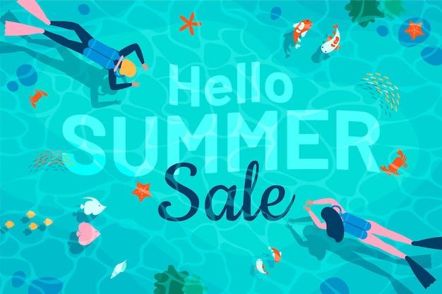 Bannière de vente d'été bonjour design plat
