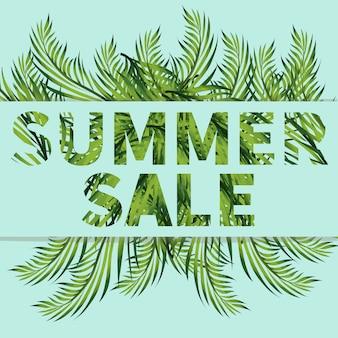 Bannière de vente d'été avec des branches de banane, de fougère et de monstera