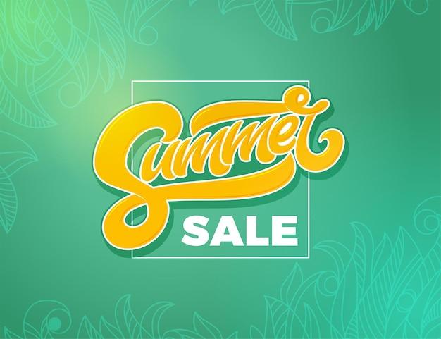Bannière de vente d'été avec cadre carré. typographie manuscrite pour affiche, promo, annonce, bannière