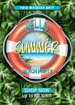 Bannière de vente d'été avec cercle de vie sur mur de plantes tropicales