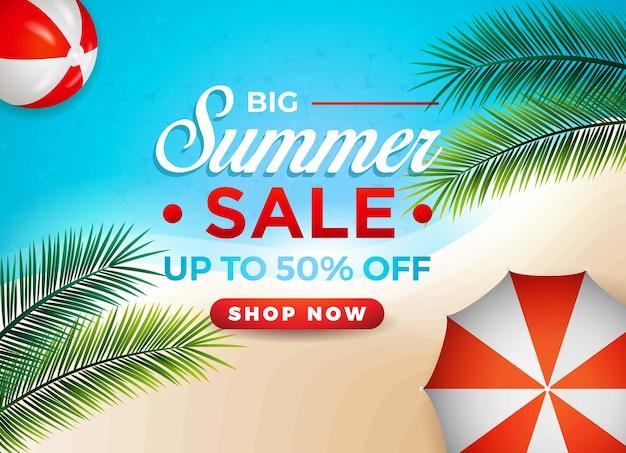 Bannière de vente d'été chaude avec ballon de plage parapluie palmier