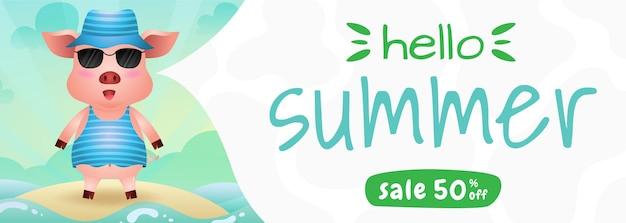 Bannière de vente d'été avec un cochon mignon utilisant un costume d'été
