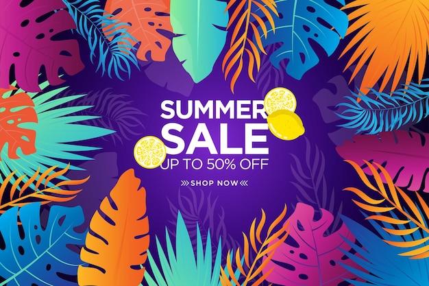Bannière de vente d'été colorée avec feuille tropicale dégradée