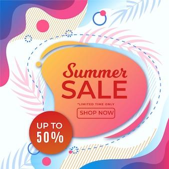 Bannière de vente d'été colorée